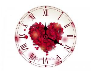 Стенен часовник Сърце от рози