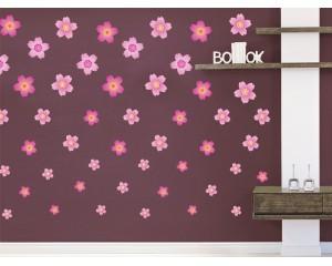 Декоративни цветя - самозалепващи стикери - комплект