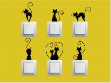 Самозалепващи декоративни стикери - комплект 9 броя Котки