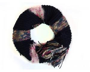 Ръчно плетен дамски зимен шал син микс Babini