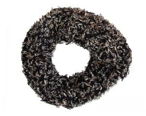 Ръчно плетен дамски зимен шал черен микс Babini