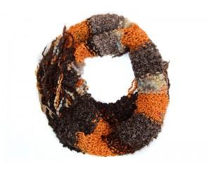 Ръчно плетен дамски зимен шал оранжев микс Babini