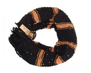 Ръчно плетен дамски зимен шал в черно и оранжево Babini