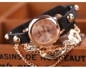 Дамски часовник вкафяво и златисто DUOYA