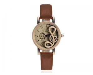 Дамски часовник в тъмнокафяво с релефна нота Luxfacigoo
