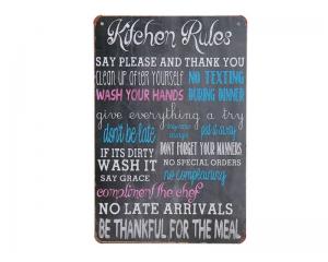 Метална декорация за стена Правилата в кухнята