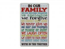 Метална декорация с надпис за семейството
