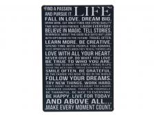 Стенна метална плоча с надпис за живота