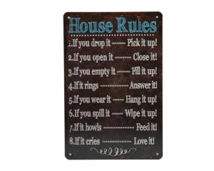 Стенна метална плоча с надпис Правилата на дома