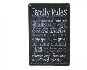 Стенна метална плоча с надпис Домашни правила