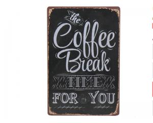 Стенна метална плоча с надпис Coffee time