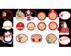 Коледни и новогодишни стикери за подаръци и украса