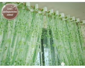 Завеса от органза в нежно зелено с цветя