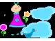 Стикер за стена - Момиче с цветя