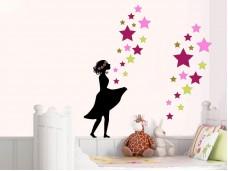 Стикер за стена Момиче със звезди