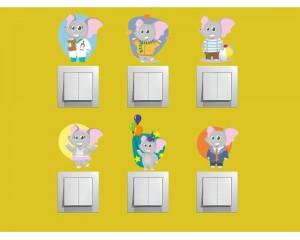 Самозалепващи декоративни стикери - комплект 6 броя Слончета