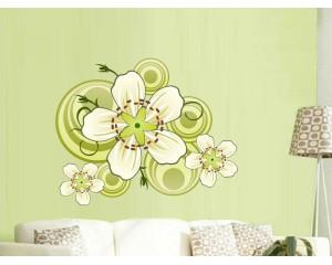 Самозалепващ стикер за стена -  зелено цвете