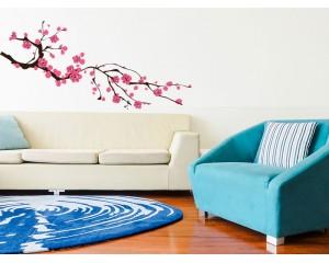 Стикер за стена - клонче с розови цветя