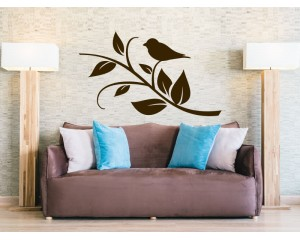 Декоративен стикер клонче с птица
