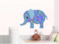 Стикер за детска стая - Цветен слон