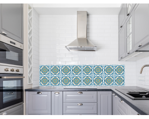 Стикер за керамични плочки в синьо и бяло