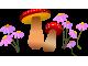 Стикер за стена - гъби с цветя