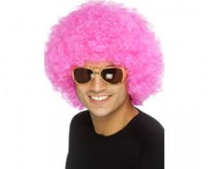 Розова афро перука синтетична
