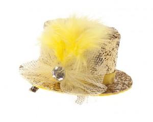 Декоративна фиба с мини шапка - жълт