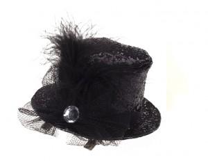 Декоративна фиба с мини шапка - черен