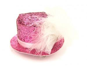 Декоративна фиба с мини шапка - розов