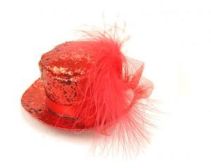 Декоративна фиба с мини шапка - червен