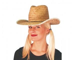 Каубойска естествена сламена шапка