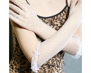 Дамски ръкавици дантела бели дълги