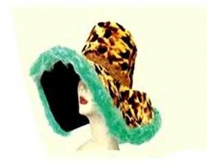 Широкопола Шапка леопард със зелен пух