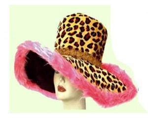 Широкопола Шапка леопард с розов пух