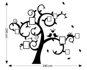 Стикер за стена - дърво с 8 места за рамки