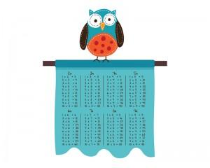 Стикер за стена Таблица за умножение - с птица