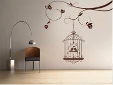Декоративен стикер Птици в клетка