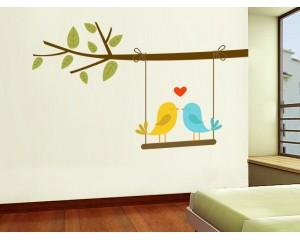 Декоративен стикер Птици цветни