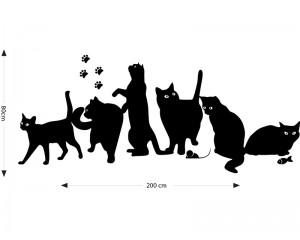 Декоративен стикер за стена 6 котки