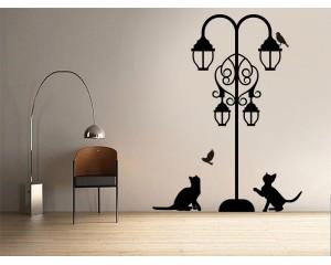 Стикер за стена Фенер с котки