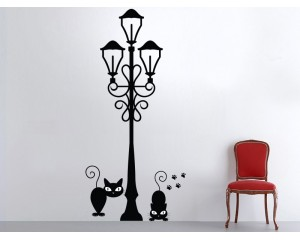 Стикер за стена Фенер с котки деко