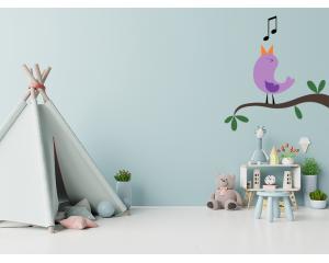 Стикер за детска стая Лилава птица на клонче