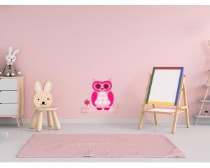 Стикер за детска стая Розов бухал