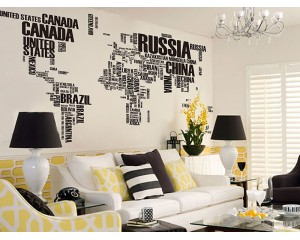 Стикер за стена - карта на света