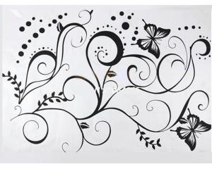 Стикер за стена - пеперуди клонче
