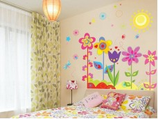 Стикери за детска стая - весели цветя