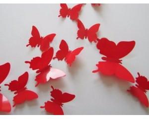 Декоративни пеперуди за стена едноцветни - червени
