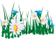 Стикер зелена трева с маргаритки