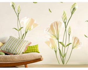 Декоративен стикер за стена - Лилии в нежно розово